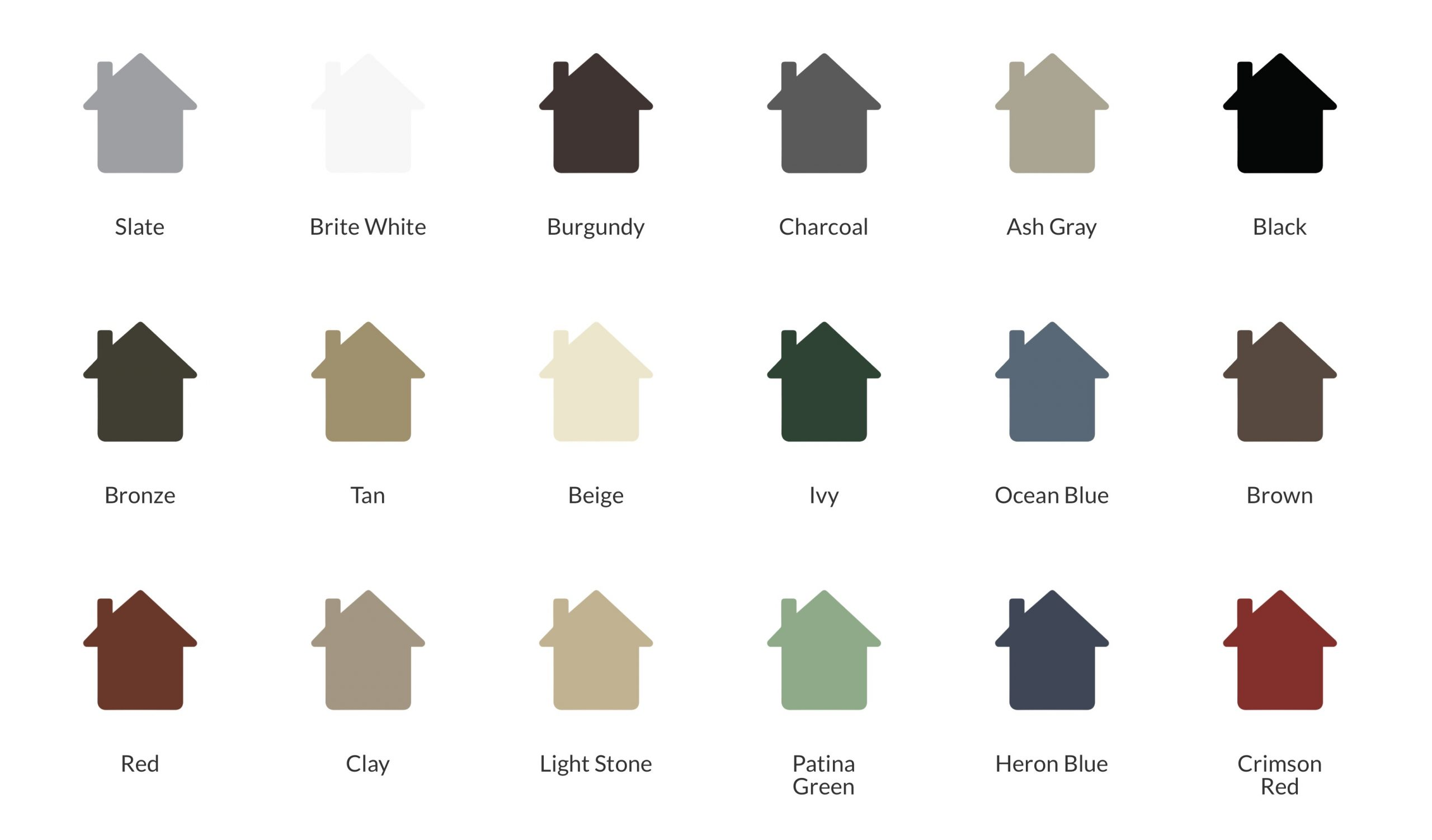 A silhouette of houses in various colors.